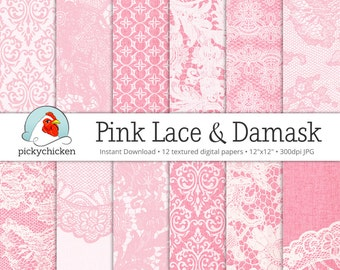 Pink Digital Paper Lace & Damask on Linen - 12 photography backdrops, pink damask scrapbook papers, pink lace wedding Instant Download 8059