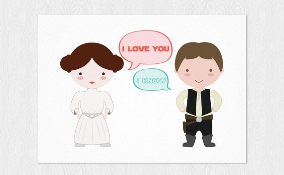Fesselnd I Love You, I Know Printable Card Star Wars Valentine Card   Printable 6x4  Inch   PDF DIY Happy Valentineu0027s Day Funny Card