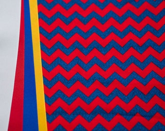 Red and Blue Chevron - Plum Creek Knitting Project Bag - Choice of Size (1039)