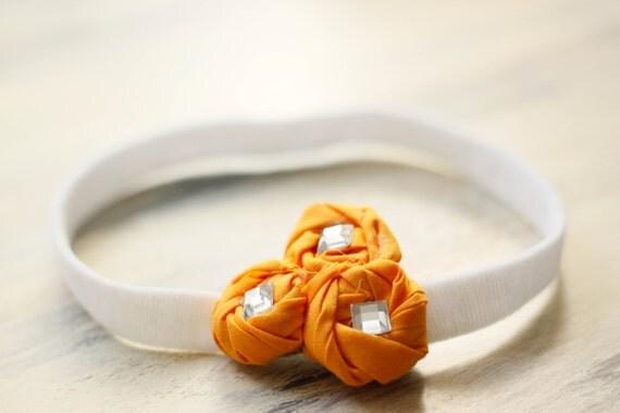 Tangerine Rosettes Baby Headband