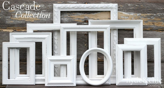 Wall Gallery Frame Set white shabby chic picture frames / shabby chic home decor /