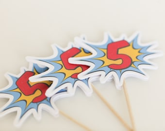 12 Super Hero Comic Cupcake Toppers/Food Picks/Donut Toppers