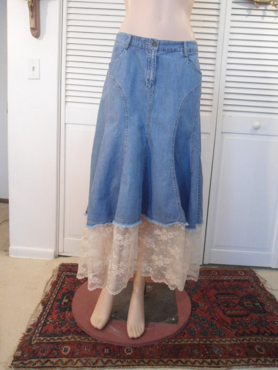 Boho Jean Skirt Hippie Lace Skirt Boho Upcycled Hippie Size