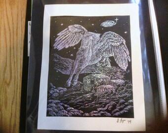 Pegasus holographic Scraper Print