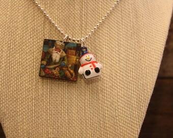 Santa & Snowman Bell Wood Pendant Necklace