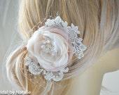 Bridal Hair Flower - Bridal Hair Clip - Wedding Floral Hair Piece with Pearls and Crystals  - Wedding Hair Accessories