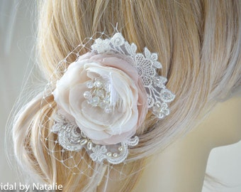 Bridal Hair Flower - Bridal Hair Clip - Wedding Floral Hair Piece with Pearls and Crystals  - Wedding Hair Accessories
