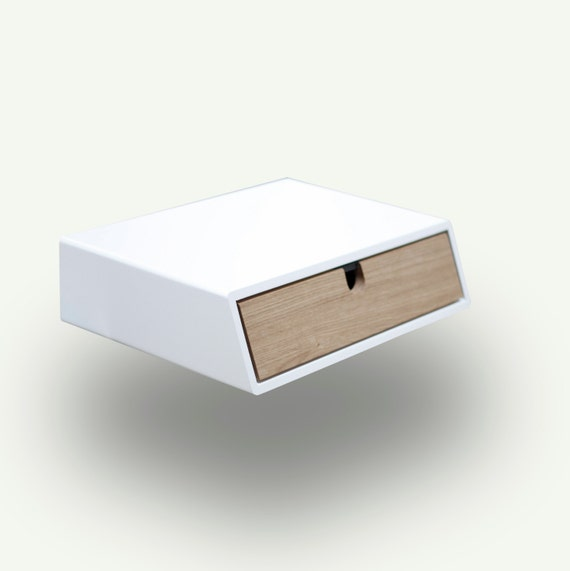 Floating white nightstand bedside table drawer by - Table chevet blanc ...