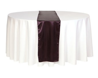 YCC Linen   Eggplant Satin Table Runner | Wedding Table Runners, 14 X 108  Inch