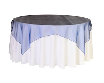 72 inch Square Organza Table Overlay Navy Blue   Wedding Table Overlays