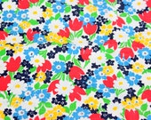 SALE Retro Heavy Woven Fabric w Slub, Multi Color Floral, Yardage .6yds, Red Yellow Blue Green White
