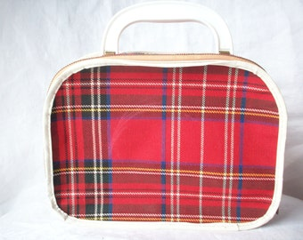 Vintage Doll Suitcase, Adorable Red Plaid Zippered Luggage