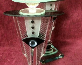 Art Deco Candlesticks Glass - Signed by the Artist - One of a Kind