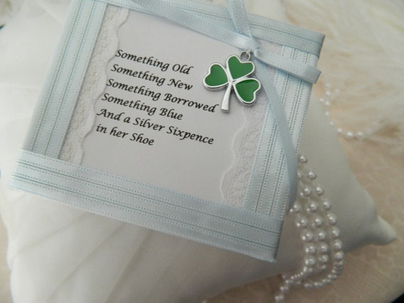 6 Pence Wedding Gift : Wedding lucky six- pence - Brides Wedding day gift- With shamrock ...