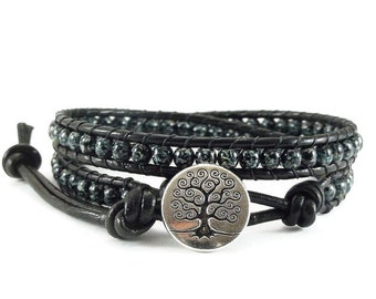 Leather Wrap Bracelet Black and Green Tree of Life Button Beaded Jewelry