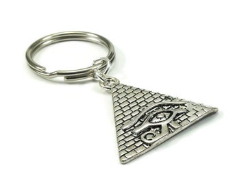 Pyramid Key Chain Egyptian Style Silver Metal Key Ring