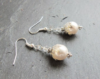 White Swarovski pearl and crystal drop earrings, bridal earrings, sterling silver, Swarovski Elements, surgical steel, wedding jewelry