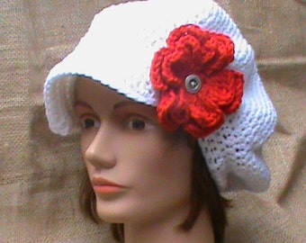 Women's Crochet Newsboy Cap With 2 Flowers