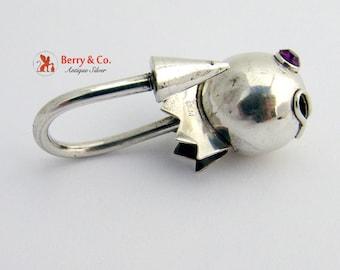 Vintage Figural Tadpole Key Chain Sterling Silver Rhinestones
