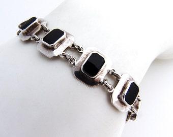 Onyx Geometric Bracelet Sterling Silver