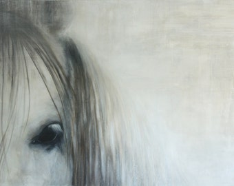 """Horse Painting Print,Horse painting,Equine art,Horse art,Giclee Print,""""Gaze"""",18""""x24"""",Painting of a horse,White horse,gray painting"""