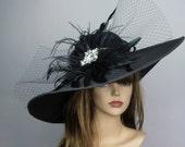 Black Wedding Head Piece Kentucky Derby Hat Fascinator Wedding Accessory Cocktail Hat