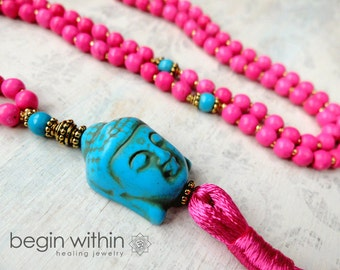 Hot Pink Buddha Mala Beads / Tassel Necklace / Prayer Beads / Meditation Beads / Yoga Mala Necklace