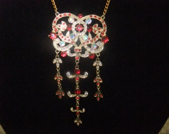 Gold and Crimson Jeweled Necklace