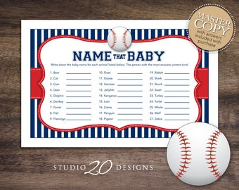 Instant Download Baseball Name That Baby Game, Blue Red Baseball Baby Shower Games, Baseball Baby Animal Game for Boy Shower 68A