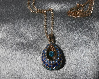 High Fashion, Blue Rhinestone, Pendant Necklace