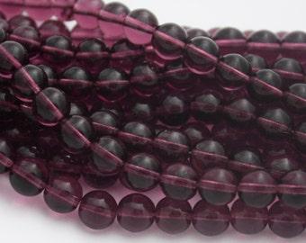 25 Czech Round Glass Beads in Amethyst Purple - 8 mm