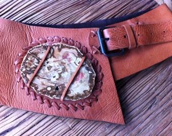 Fossil Wood Leather Belt