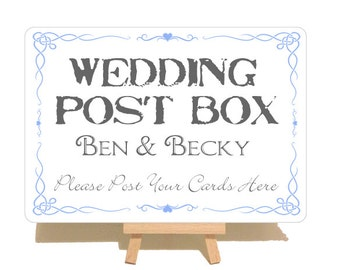 Personalised Swirly Style Metal Wedding Post Box Sign Plaque With Wooden Easel