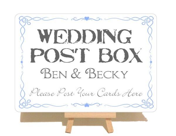 Wedding Gift Post Box: Personalised Swirly Style Metal Wedding Post Box Sign Plaque
