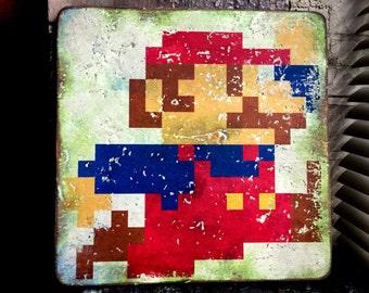 Nintendo 8-Bit Mario Distressed Wood Art