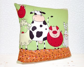 "Handmade Farmyard Friends Cute and Quirky Pillow Cushion Cover 18""x18"" (indoor)"