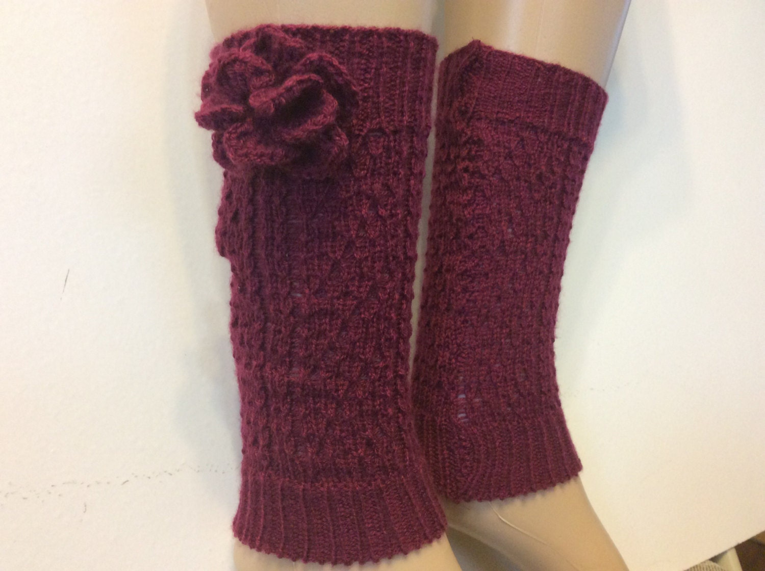 Knitted Baby / Children Leg Warmers With Flower Boot Leg