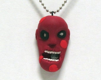 OOAK Handmade Zombie Walking Dead Pendant Necklace 05 Halloween Creepy