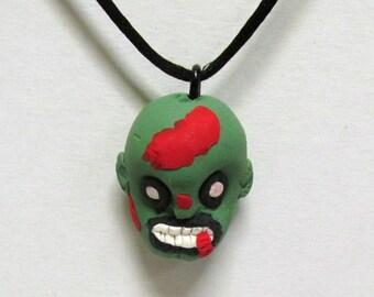 OOAK Handmade Zombie Walking Dead Pendant Necklace 11 Undead Halloween Creepy Scary