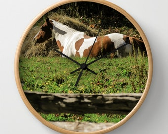 Paint Horse Wall Clock, Horse Decorative Wall Clock, Equestrian, You Choose Black,White or  Wood Frames, and White or Black Hands