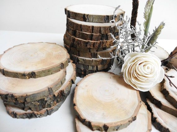 3 wood slices branch slices tree slices bark by daliaswoodland for Wood trunk slices