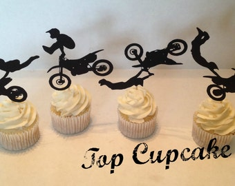 Motocross Motorcycle Cupcake Toppers - 12