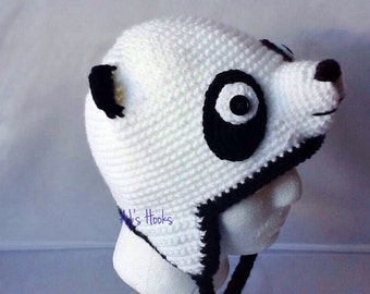 Panda Hat. Crocheted Panda Hat For Adults. Gift Ideas Panda Hat.