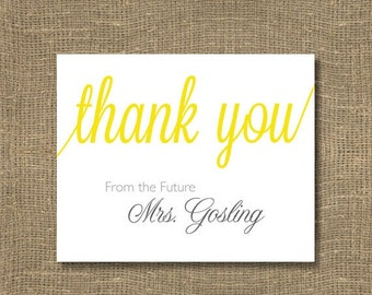 The Future Mrs. Bridal Shower Thank You Cards | Free Custom Color | Thank You Cards | Personalized Thank You's | Pack of 12 | Bridal Party