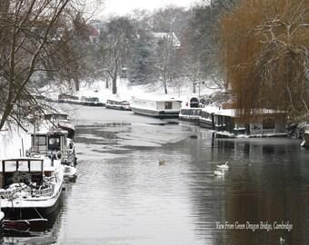 Cambridge Snow Scene Fine Art Photographic Blank Greetings Card