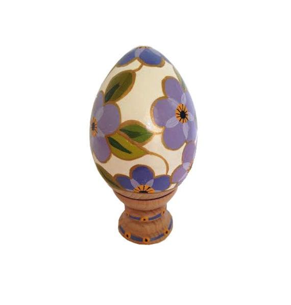 Easter egg hand painted wooden easter egg white and purple - Painted wooden easter eggs ...