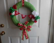 Christmas Wreath wrapped Lime Green Burlap with felt flowers and snow flake pennant