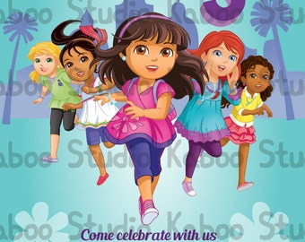 Printable Dora and Friends: Into the City inspired invitation