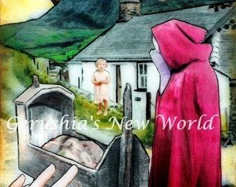 Plentyn Newid (Welsh Changeling Story) - Collage,  Mixed Media, Welsh Art, Print