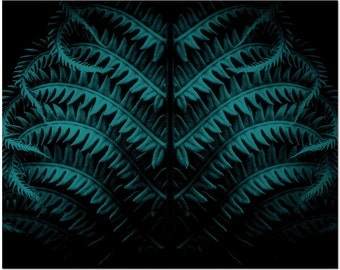 Dark Teal Abstract Art • Botanical Art Print in Dark Teal and Black • Large Wall Art 16x20, 20x30, and More